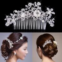 Crystal Rhinestones Pearls Diamante Hair Comb Clip Barrette Bridal Wedding Party