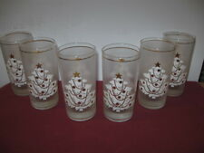 CULVER GLASS, WHITE CHRISTMAS TREE, GOLD DECORATION,  HIGH BALL GLASSES  --  7