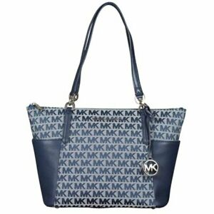 """""""New"""" Michael Kors Bedford Large East West Top Zip Tote Signature Jacquard Navy"""