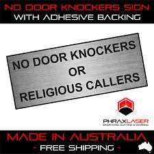 NO DOOR KNOCKERS OR RELIGIOUS CALLERS - SILVER SIGN - LABEL - PLAQUE 10CMX4CM