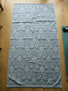 BLUE + CREAM TWO-SIDED PATTERN BATH TOWEL 100% COTTON 62 BY 34 INCHES