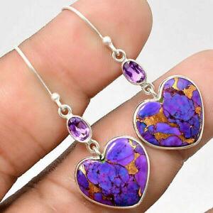 Fashion 925 Silver Love Heart Drop Earrings for Women Turquoise Wedding Jewelry