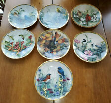 "Set of 7 Lenox Catherine McClung Nature'S Collage Bird 8"" Plates 24K"