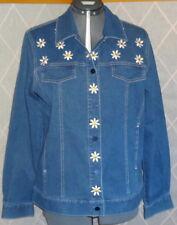 BOB MACKIE Wearable Art Size M Blue Embroidered Daisy Denim Jean Casual Jacket
