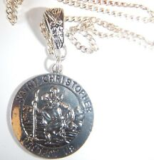"Antiguo Plata St Christopher en una cadena de plata esterlina 24"" Collar Bolsa De Regalo"