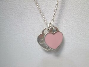 Tiffany & Co. Sterling Silver Double Heart Pink Enamel Pendant Necklace