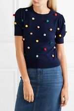 ALICE + OLIVIA Brady Pom Pom Short Sleeve Sweater - Navy Small S