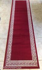 "2x8  Runner Rug Modern Greek Key  Design Hallway Red Carpet  Size 2'x7'2""  New"