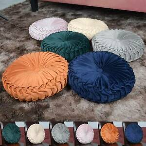 Colourful Round Filled Crushed Velvet Cushions Seat Home Sofa Decor Pads Pillow