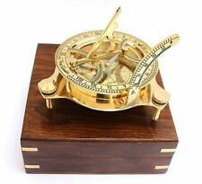 Brass Compass Sundial 4 inch with Wooden Box Vintage Heavy Quality style gift