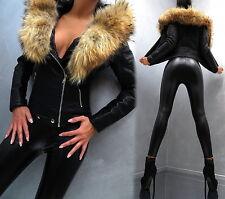 Unique Warm Real Fur Pelz Best Leather Look Top Jacke Mantel M58 Blazer Coat S