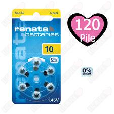 120 Batterie Pile per apparecchi acustici RENATA MARATONE ZA10 PR70 P10 10