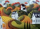 Print of folk art painting country horse farm landscape Fall farmhouse modern DC