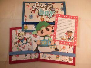 HAPPY BOY 3D PAPER PIECING PREMADE SCRAPBOOK PAGE MAT SET