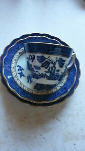 BOOTHS china Willow pattern TRIO, made in England, excellent order