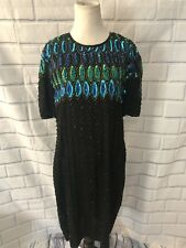 Vintage 80s Stenay Cocktail Sequined Dress Sz 14 Black Green Party 100% Silk