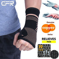 Copper Compression Hand Wrist Support Brace Carpal Gloves Arthritis Palm Protect