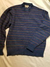Alan Paine Vintage Shetland Wool Long Sleeve Sweater Blue & Purple Stripe SZ 42