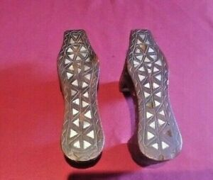 Antique Ottoman Hammam Kabkabs Turkish Bath Shoes 19th C Inlaid Mother of Pearl