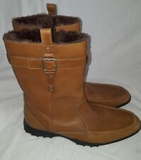 Cole Haan Boots Slide On Side Buckle Leather Water Proof Sherpa Lined Men's 10