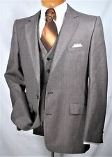 70's Vintage Men's Sport Coat Black Wool Pin Stripe Size 38 Hardy Amies
