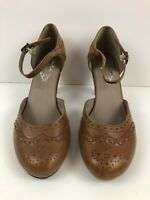 HUSH PUPPIES Tan Brown Leather BERKSHIRE Pumps Ankle Strap  Womens Size 8.5M