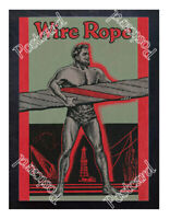 Historic strongman Wire Rope, 1900s Advertising Postcard