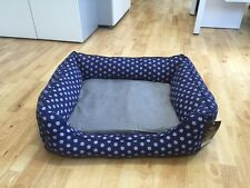 PET REBELLION DOG BED SPOTTY BLUE - MEDIUM - MEMORY FOAM CRUMBS