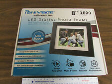 "Panimage 8"" LED Digital Photo Frame Stores 1600 Images Glass Wood"