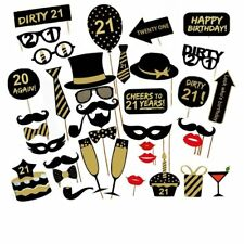 36PCS 21st Old Year Birthday Party Supply Masks Favor Photo Booth Props US SHIP