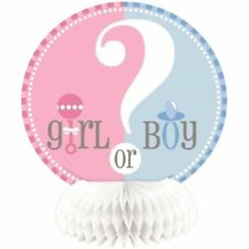 """""""GENDER REVEAL"""" BABY SHOWER Mini HONEYCOMB DECORATIONS 6"""" High Party Supplies"""