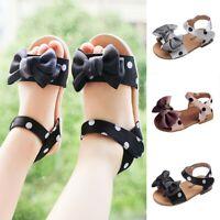 Summer Children Kids Baby Girls Fashion Dot Bowknot Princess Sandals Shoes