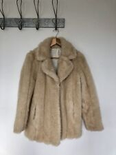 VINTAGE WOMENS FAUX FUR COAT JACKET YETTI FLUFFY CREAM LUSH RETRO UK 8 10 A590