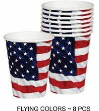 8 pc  9oz cups, Flying Colors Flag Patriotic July 4th  1-4B