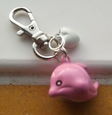 Gift Pink Dolphin & Heart Handbag/Purse  Bell Charm Keyring BN