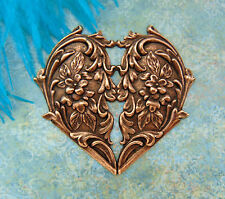 ANTIQUE COPPER Victorian Floral Heart Flower Stamping ~ Oxidized Finding (FC-10)