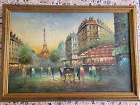 J. Bardot French Impressionist 1960's Oil 24 x 36 canvas Paris Eiffel Tower Art