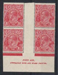 G750) Australia 1930 SM watermark perf 13½ x 12½ KGV 1½d Golden scarlet