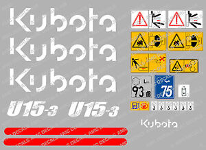 KUBOTA U15-3 MINI DIGGER COMPLETE DECAL SET WITH SAFETY WARNING SIGNS