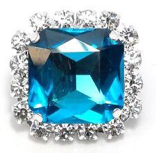 1 PEZZO Pietra Quadrata con strass Crystal e pietra Blue Zircon mm 2,2x2,2