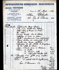 """NANTES (44) ELECTRICITE / LUMIERE FORCE PARATONNERRE """"Armand TOUVERON"""" en 1940"""
