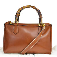 Auth Gucci Bamboo 2WAY Bamboo,Leather Handbag,Shoulder Bag Brown 03FA559