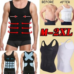 Men's Slimming Body Shaper Chest Compression Shirts Abdominal Waist Trainer Vest