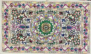 Indian Wall Hanging Cotton Kashmiri Wool Embroidery Handmade Suzani Decor White