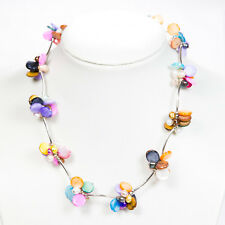 Pearl Shell Necklace, Multicolour, Handmade