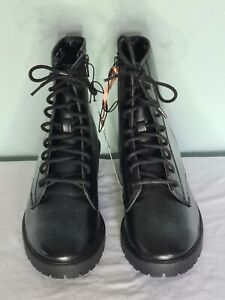 F&F Ladies Black Laced with zip Ankle Boots Combat, Festival, UK5 EU38 New