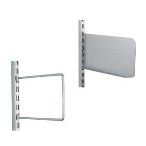 Twin Slot Accessories for Shelving Systems Universal Book Shelf End Matt SILVER