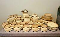 Vintage 1979 Denby Memories 31 Pcs Tableware Set (Beige Brown Flower Stoneware)
