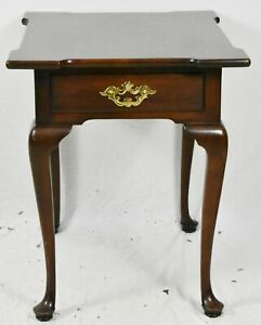 STATTON OLD TOWNE SOLID CHERRY QUEEN ANNE One Drawer TABLE SIDE TABLE