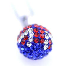 Chain necklace with very sparkly crystal studded Union Jack & blue ball pendant.